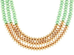 Pre-Owned Bead Gold Tone Multi-Row Necklace