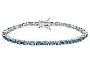 Pre-Owned Teal Chromium Kyanite Rhodium Over Silver Bracelet 9.03ctw