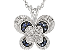 Pre-Owned Blue Sapphire And White Diamond Rhodium Over Sterling Silver Butterfly Pendant 0.24ctw