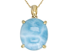 Pre-Owned Blue Oval Larimar 10k Yellow Gold Pendant With Chain