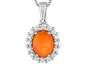 Pre-Owned Orange Ethiopian Opal Sterling Silver Pendant With Chain 2.11ctw