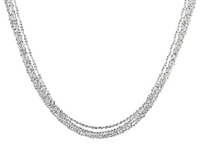 Pre-Owned Sterling Silver 6 Strand Diamond Cut Criss Cross Chain Necklace 26 Inch With 4 Inch Extend