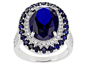 Pre-Owned Blue Sapphire Rhodium Over Sterling Silver Ring 8.50ctw