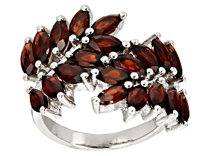 Pre-Owned Red Garnet Rhodium Over Sterling Silver Ring 3.80ctw