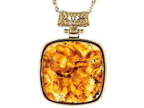 Pre-Owned Orange Amber 18k Yellow Gold Over Sterling Silver Pendant With Chain