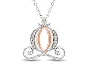 Pre-Owned Enchanted Disney Cinderella Carriage Pendant Diamond Rhodium Over Silver & 10K Rose Gold 0
