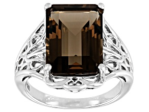 Pre-Owned Brown Smoky Quartz Rhodium Over Sterling Silver Solitare Ring 7.10ct