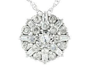 "Pre-Owned White Diamond 10k White Gold Cluster Pendant With 18"" Rope Chain 0.50ctw"