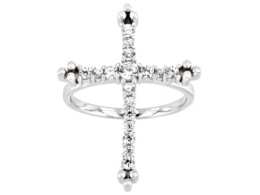 Pre-Owned White Zircon Rhodium Over Sterling Silver Cross Ring 0.75ctw