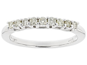 Pre-Owned White Diamond Rhodium Over Sterling Silver Band Ring 0.30ctw