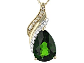 Pre-Owned Green Russian Chrome Diopside 14k Yellow Gold Pendant With Chain 1.87ctw