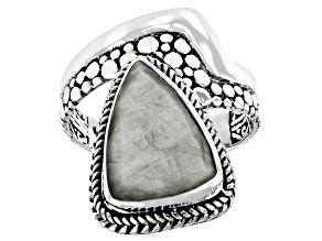 Pre-Owned Gray Cats Eye Quartz Sterling Silver Ring