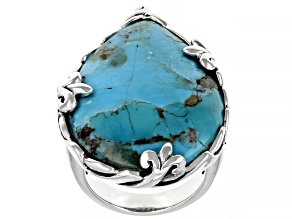 Pre-Owned Blue Turquoise Rhodium Over Silver Ring 30x22mm