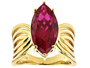 Pre-Owned Red Lab Created Ruby 18k Yellow Gold Over Silver Ring 5.27ct