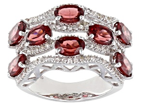 Pre-Owned Color Shift Garnet Rhodium Over Sterling Silver Ring 6.18ctw
