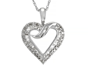 Pre-Owned White Diamond Rhodium Over Sterling Silver Heart Pendant With Chain 0.55ctw