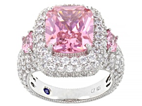 Pre-Owned Pink And White Cubic Zirconia Platineve Ring 15.36ctw