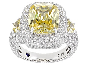 Pre-Owned Canary And White Cubic Zirconia Platineve Ring 15.36ctw