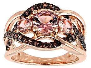Pre-Owned Pink Morganite Simulant And Mocha Cubic Zirconia 18K Rose Gold Over Sterling Silver Ring 2