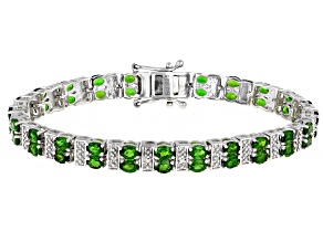Pre-Owned Green Chrome Diopside Rhodium Over Sterling Silver Bracelet 10.50ctw