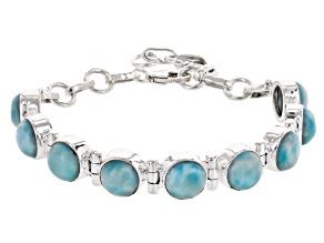 Pre-Owned Blue Larimar Rhodium Over Sterling Silver Bracelet