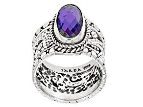 Pre-Owned Rainbow Tanzanite Blue Color Quartz Triplet Silver Ring