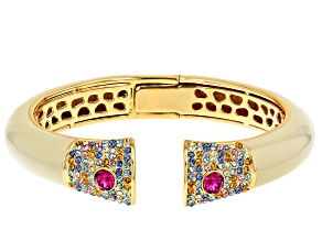 Pre-Owned Gold Tone  Swarovski Elements ™ Crystal and Enamel Bracelet