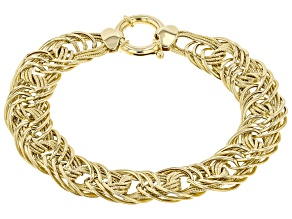 Pre-Owned 10K Yellow Gold Polished Interlocking Designer Link 7.5 Inch Bracelet
