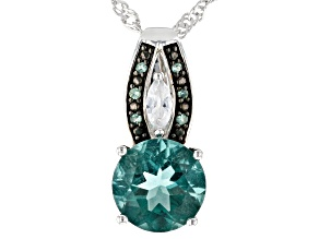 Pre-Owned Teal Fluorite Rhodium Over Silver Pendant With Chain 2.76ctw