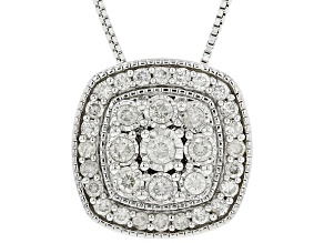 Pre-Owned White Diamond Rhodium Over Sterling Silver Cluster Pendant With Chain 0.50ctw