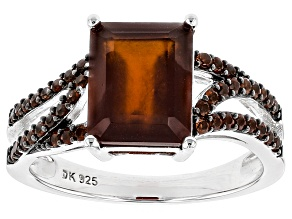 Pre-Owned Red Hessonite Sterling Silver Ring 5.10ctw
