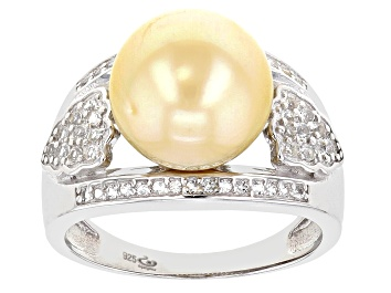 Picture of Pre-Owned Golden Cultured South Sea Pearl & White Topaz 0.35ctw Rhodium Over Sterling Silver Ring