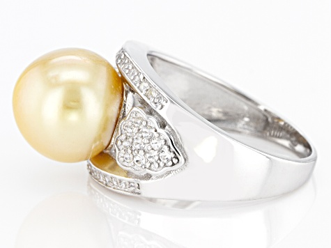 Pre-Owned Golden Cultured South Sea Pearl & White Topaz 0.35ctw Rhodium Over Sterling Silver Ring