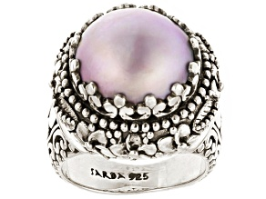 Pre-Owned Cultured Pearl Mabe Sterling Silver Ring