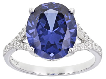 Picture of Pre-Owned Blue And White Cubic Zirconia Platinum Over Sterling Silver Ring 8.07ctw