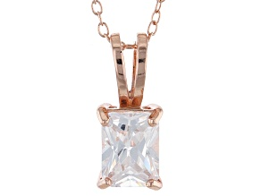 """Pre-Owned 2.95ct Cubic Zirconia 18k Rose Gold Over Sterling Silver Pendant With 18"""" Chain"""