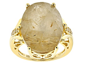 Pre-Owned White Rutilated Quartz 18k Yellow Gold Over Silver Ring 13.65ctw