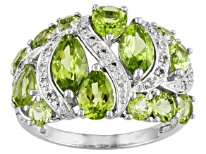 Pre-Owned Manchurian Peridot ™ 3.28ctw With .17ctw White Topaz Sterling Silver Ring