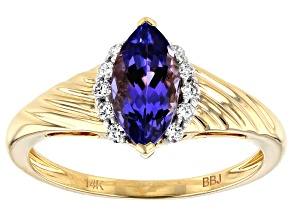 Pre-Owned Blue Tanzanite 14k Yellow Gold Ring .99ctw