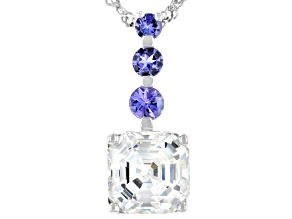 Pre-Owned Fabulite Strontium Titanate and tanzanite rhodium over silver pendant 3.61ctw