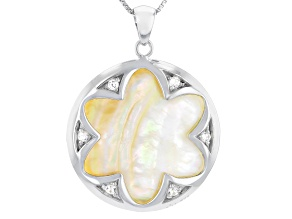 Pre-Owned Golden South Sea Mother-of-Pearl & Zircon 0.22ctw Rhodium Over Silver Pendant With Adjusta
