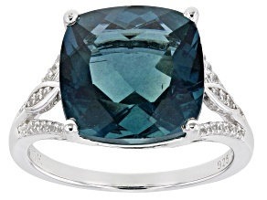 Pre-Owned Teal Fluorite Rhodium Over Silver Ring 7.40ctw
