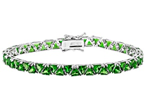 Pre-Owned Chrome Diopside Rhodium Over Sterling Silver Tennis Bracelet 12.50ctw