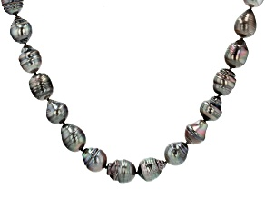 Pre-Owned Cultured Tahitian Pearl Rhodium Over Sterling Silver 18 Inch Strand Necklace