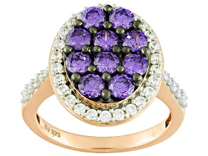Pre-Owned Purple And White Cubic Zirconia 18k Rose Gold Over Silver Ring 3.62ctw (1.62ctw DEW)