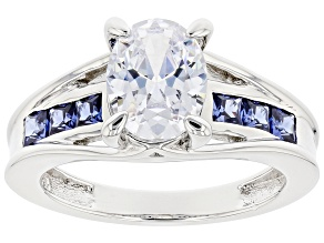 Pre-Owned White And Blue Cubic Zirconia Rhodium Over Sterling Silver Ring 3.95ctw