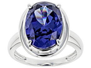 Pre-Owned Blue Cubic Zirconia Platinum Over Sterling Silver Ring 9.87ctw