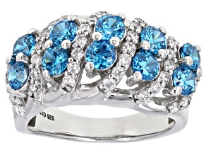 Pre-Owned Blue And White Cubic Zirconia Rhodium Over Sterling Silver Ring 4.11ctw