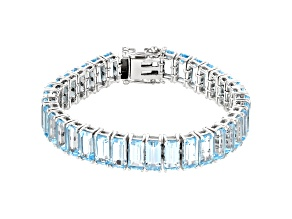 Pre-Owned Sky Blue Topaz  Rhodium Over Sterling Silver Bracelet 67.68ctw