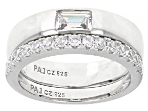 Pre-Owned White Cubic Zirconia Rhodium Over Sterling Silver Band Rings 1.03ctw